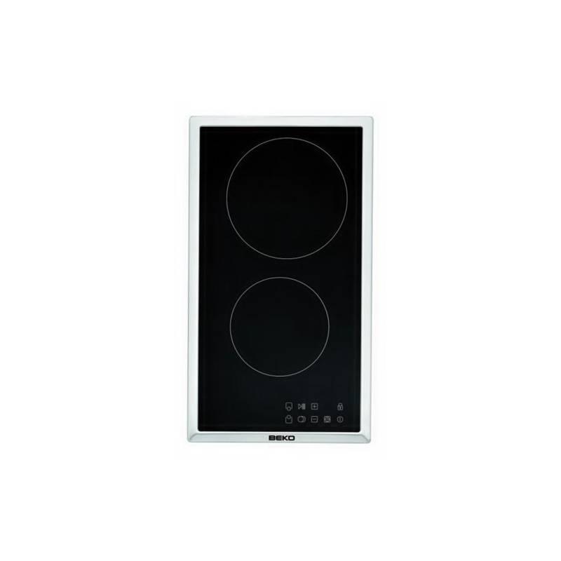 plaque domino vitroceramique beko noire cadre inox. Black Bedroom Furniture Sets. Home Design Ideas