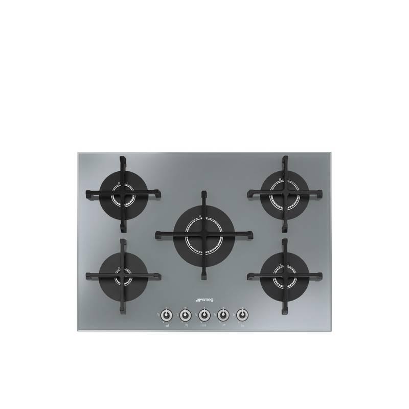 plaque gaz verre grande largeur smeg 5g silver. Black Bedroom Furniture Sets. Home Design Ideas