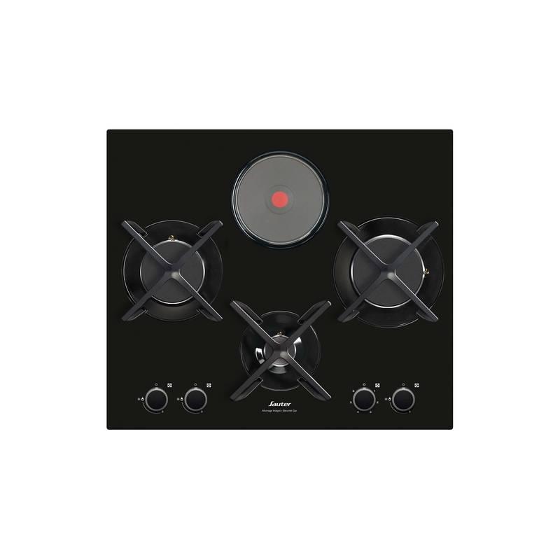 plaque mixte sauter verre 3 gaz 1 electrique noire. Black Bedroom Furniture Sets. Home Design Ideas