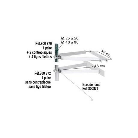 FIXATION MURALE AVEC CT GD MODELE ZINC BLANC (LA PAIRE)