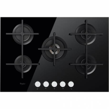 plaque gaz verre whirlpool grande largeur noire. Black Bedroom Furniture Sets. Home Design Ideas