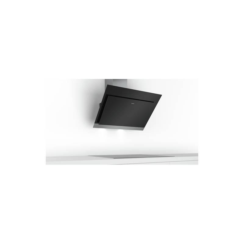 hotte decorative bosch plan incline 680m3 h 66db noir et inox. Black Bedroom Furniture Sets. Home Design Ideas