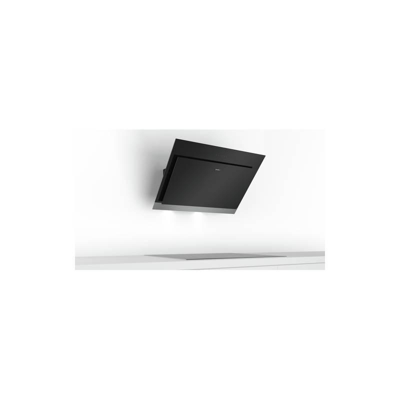 Hotte decorative bosch plan incline 680m3 h 66db noir et inox - Hotte aspirante plan incline ...